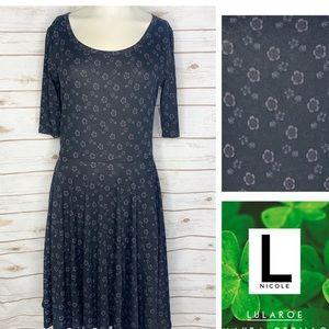 L Nicole black floral print dress